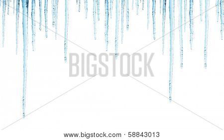 Seamless border with icicles. Isolated on white background