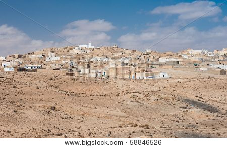 Town of Tamezret in Sahara desert, Tunisia