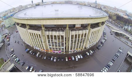 MOSCOW, RUSSIA - OCT 30, 2013:  (view from unmanned quadrocopter) Olympiysky Sports Complex at rainy day. Olympic Sports Complex - one of largest indoor sports complexes in Europe.