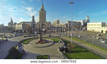 MOSCOW, RUSSIA - NOV 09, 2013: (view from unmanned quadrocopter) Leningradskaya hotel and Komsomolskaya Square. Hotel building was built in 1949-1954 years designed by architects Polyakov, Boretskii.