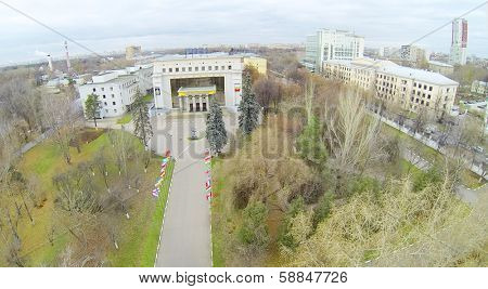 MOSCOW, RUSSIA - OCT 22, 2013: (view from unmanned quadrocopter) Russian State Social University. University established by Government of Russian Federation in 1991.