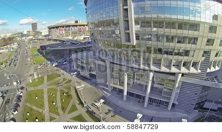 MOSCOW, RUSSIA - OCT 30, 2013: (view from unmanned quadrocopter) Business Center Diamond Hall and Olympiysky Sports Complex. Business Center Diamond Hall built in 2010.