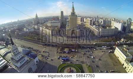 MOSCOW, RUSSIA - NOV 09, 2013: (view from unmanned quadrocopter) Leningradskaya hotel. Hotel building was built in 1949-1954 years designed by architects Polyakov, Boretskii.