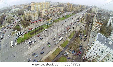 MOSCOW, RUSSIA - NOV 08, 2013: (view from unmanned quadrocopter) Big Cherkizovskaya street. Length of Big CHerkizovskaja Street - 2 km.