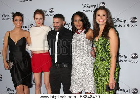 LOS ANGELES - JAN 17:  Bellamy Young, Darby Stanchfield, Guillermo Diaz, Kerry Washington, Katie Lowes at the ABC TCA Winter 2014 at The Langham Huntington on January 17, 2014 in Pasadena, CA