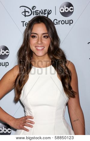 LOS ANGELES - JAN 17:  Chloe Bennet at the Disney-ABC Television Group 2014 Winter Press Tour Party Arrivals at The Langham Huntington on January 17, 2014 in Pasadena, CA
