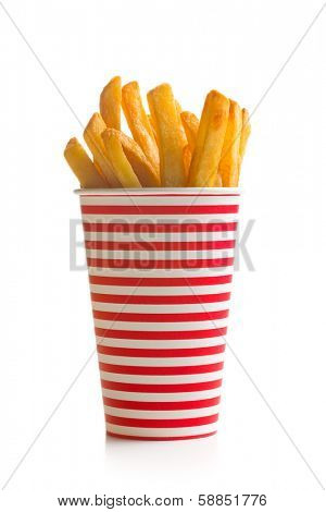 french fries in striped cup on white background