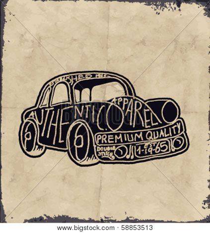 sketch car with wording