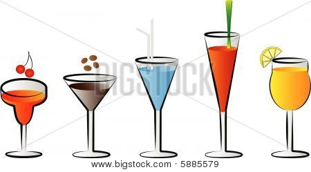 cocktail glasses vector illustrations