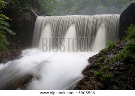 Wild waterfall after rain