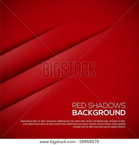 Red background with realistic shadows