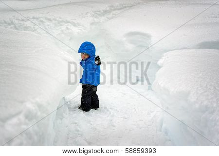 Boy In The Snow Tunnels