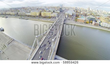 Krymsky Bridge and panorama of Moscow, Russia. View from unmanned quadrocopter