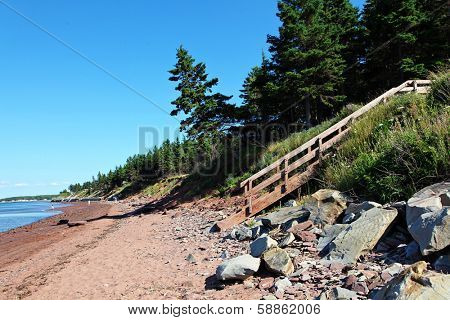 Beach with stairs and rocks in Nova scotia