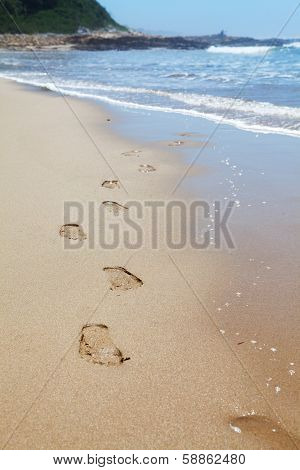 Human Footprints On The Beach Sand Leading Towards The Viewer