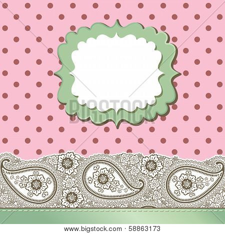 Vintage Paisley Strip Lace And Polka Dot.design Template,artwork