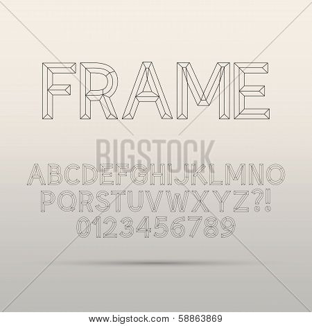 Line Framework Font And Digit, Eps 10 Vector, Editable For Any Background