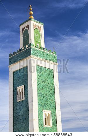 Minaret of the Medersa Bou Inania mosque, Morocco