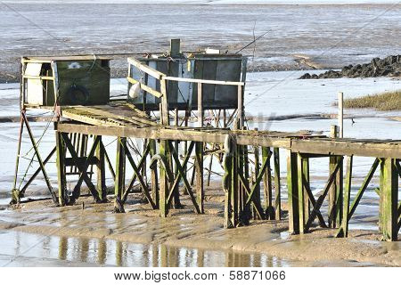 Ramshackle pier and shack
