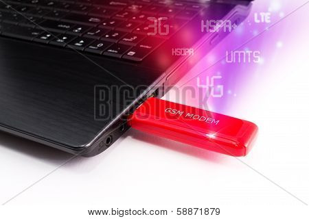 Laptop with a modern modem