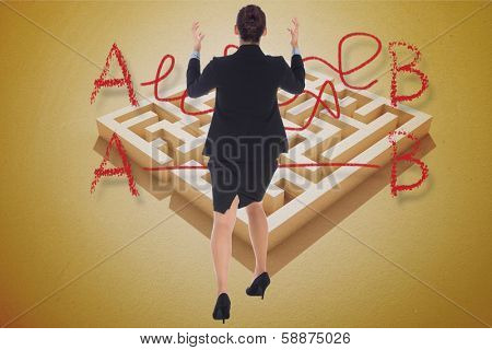Businesswoman gesturing against line from a to b drawn over puzzle