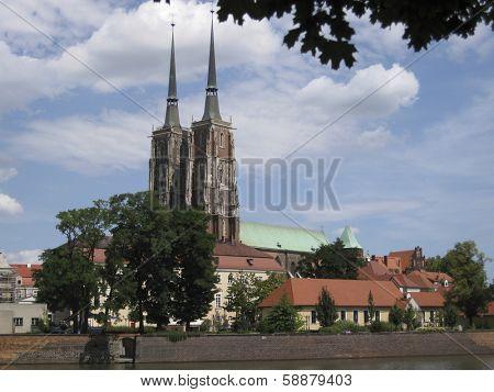 View on Ostrow Tumski in Wroclaw, Poland
