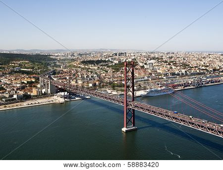 Aerial view of the Ponte 25 Abril, Lisbon