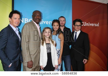 LOS ANGELES - JAN 19: Kyle MacLachlan, Delroy Lindo, Johnny Sequoyah, Jamie Chung, Jake McLaughlin, JJ Abrams at the NBC TCA Winter 2014 Press Tour at Langham Hotel on January 19, 2014 in Pasadena, CA