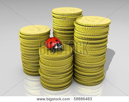Ladybug On Stack Of Coins