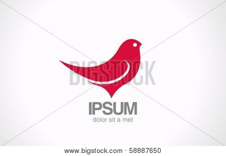 Bird Sitting abstract vector logo design template. Red sparrow silhouette icon.