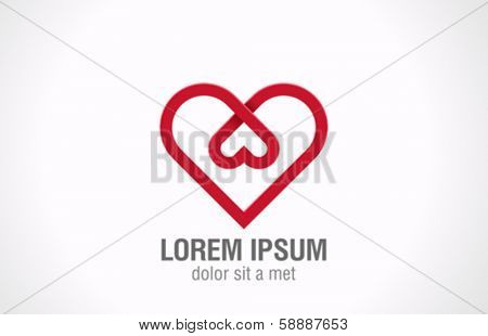 Heart inside - love vector logo design template. Happy Valentines day concept icon. Creative looped shape.