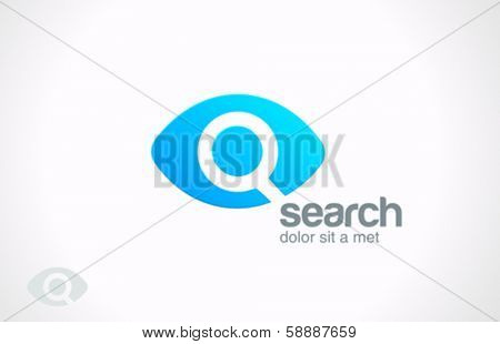 Search engine service vector logo design template. Searching Eye with magnifying glass investigation concept icon. Data technology research idea. Detective, Audit idea.