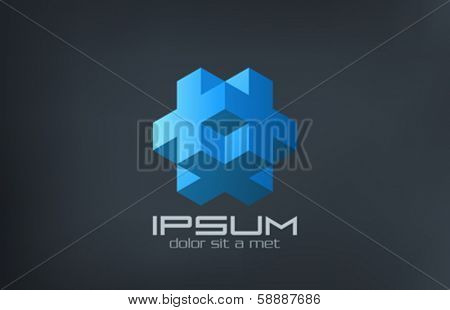 Cube logic abstract of cross and plus vector logo design template. Science Technology symbol. Rebus puzzle creative idea concept icon. Editable.