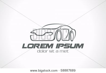 Car abstract lines vector logo design concept. Auto Race, Store, Repair services icon. Creative stylish trendy concept.