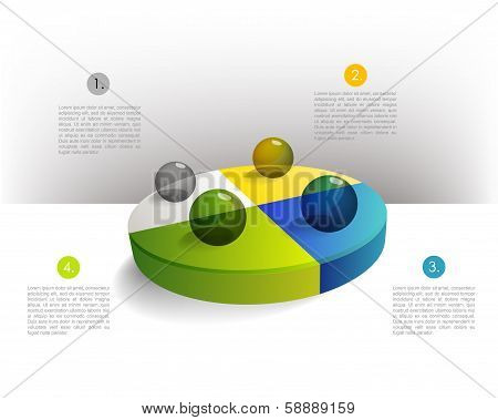 Presentation template circle graph with a 3D glass balls. Pie chart diagram. Infographics web elemen