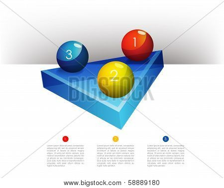 Presentation template graph with a triangle 3D glass diagram and glass balls. Infographics web eleme