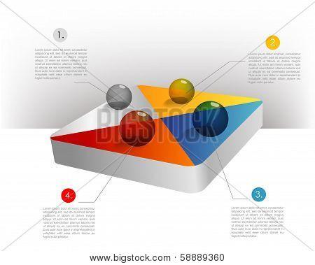 Presentation template hexagonal graph. Pie chart diagram. Infographics web elements.