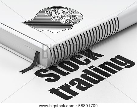 Business concept: book Head With Finance Symbol, Stock Trading on white background