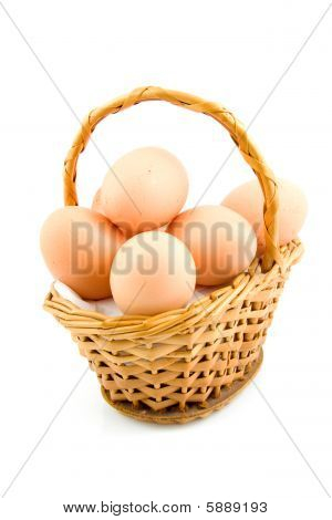 Cane Basket With Chicken Eggs