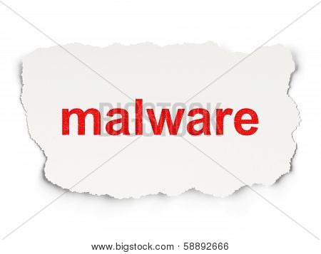 Privacy concept: Malware on Paper background