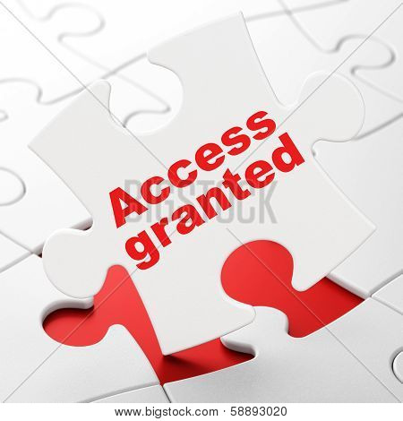 Privacy concept: Access Granted on puzzle background