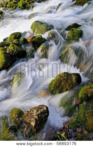 Water flowing over mossy rocks