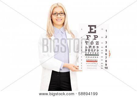 Female optician holding eyesight test, isolated on white background