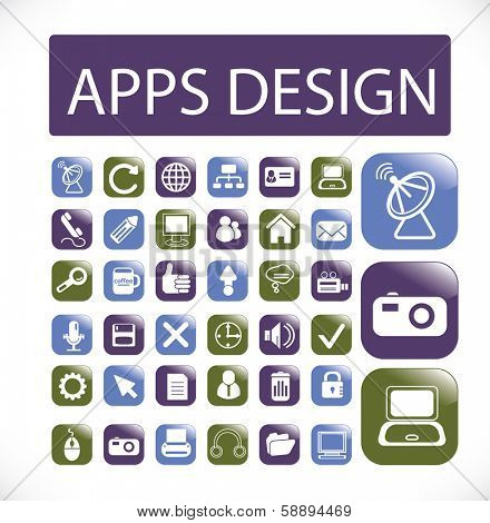 apps design buttons, web application, interface set, vector