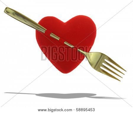 Red heart with gold fork as cameo isolated