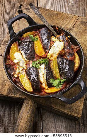 baked potato and eggplant with feta