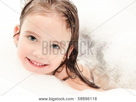 Smiling Little Girl In Bubble Bath