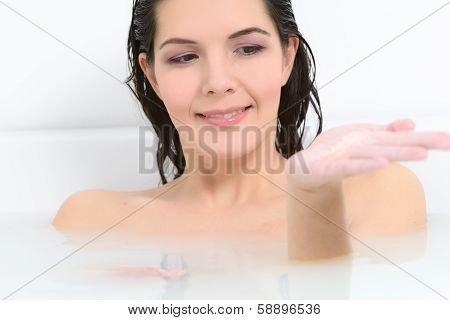 Woman Enjoying A Therapeutic Aromatherapy Bath
