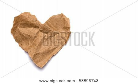 Torn Paper Heart On A White Background