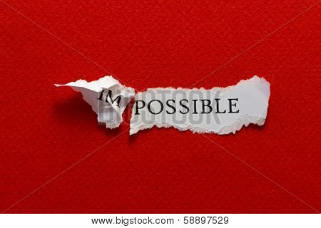 The word impossible torn in two parts, im and possible